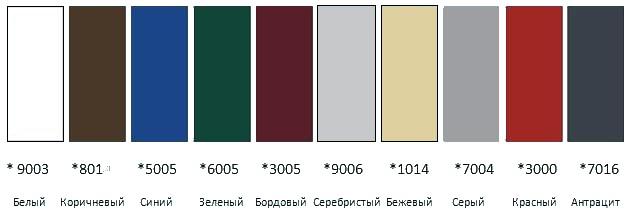 Стандартные цвета по RAL – карте
