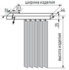 Габаритные размеры вертикальных жалюзи с мотором